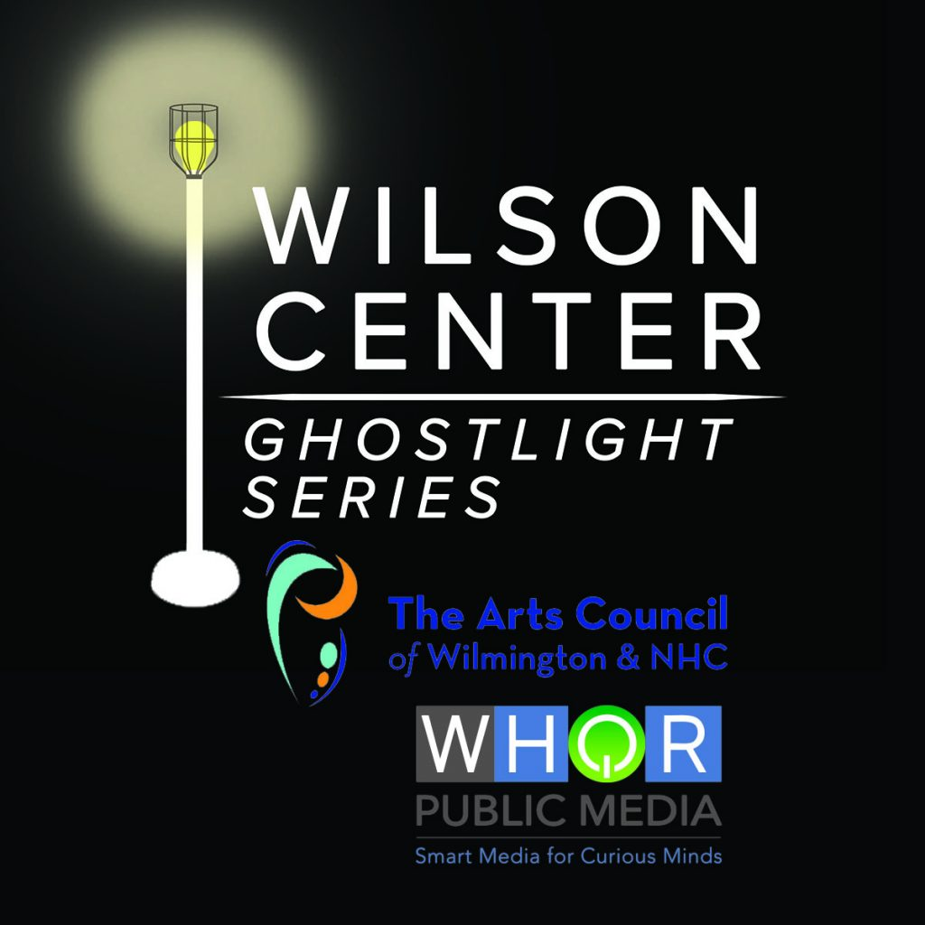 Ghostlight Series logo in white, with Arts Council of Wilmington and WHQR logos